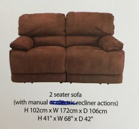 2 SEATER FAUX BROWN LEATHER SOFAS