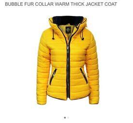 Yellow / mustard ladies puffer jacket