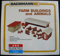 HO BACHMANN PLASTICVILLE BLDG #2813 FARM BUILDINGS ANIMALS MIB