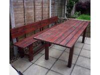 Large garden table / beer garden / hand made / wood / not rattan