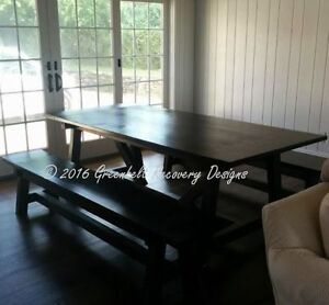 SALE-NEW RECLAIMED WOOD HARVEST/TRESTLE DINING TABLE & BENCH SET