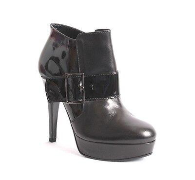 Mani 9495 Black Leather / Patent Platform Buckle Zip-Up Ankle Boots 39 / US 9