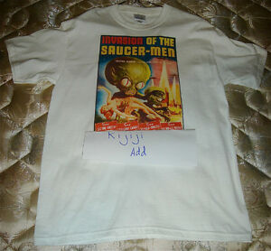 NEW UNUSED MEN'S T SHIRT WITH INVASION OF THE SAUCER-MEN ARTWORK