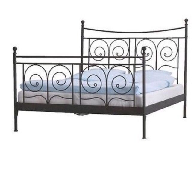 ikea noresund black metal bed frame queen size in hyde