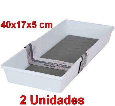 2 Unidades Organizador caja cesta Multiusos antideslizante 40x17x5cm,de plástico