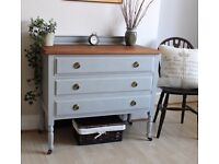 Lovely Vintage Shabby Chic Painted Chest of Drawers on Wheels