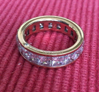 Michael Kors Park Avenue Baguette Crystal Rose Gold-Tone Ring - Size 7