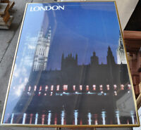 Framed poster of London's Houses of Parliament on River Thames