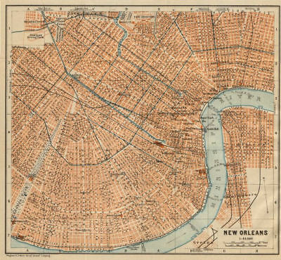 NEW ORLEANS city plan. French Quarter Mid City Treme-Lafitte Louisiana 1904 map