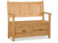 New Salisbury Erne Oak Large Monks bench with 2 drawers Only £359 IN STOCK NOW