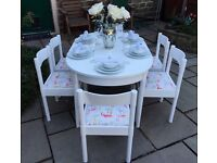 Extending White Dining Table & 6 Pink Flamingo Dinette Dining Chairs ~ Shabby Chic Vintage Dining