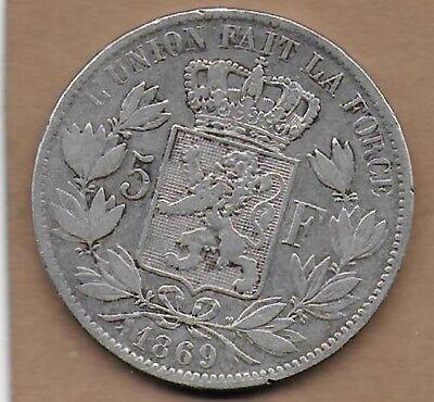 5 Francs argent Léopold II 1869