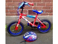 "Ultimate Spider-Man Boys Bike 14"" & Helmet"