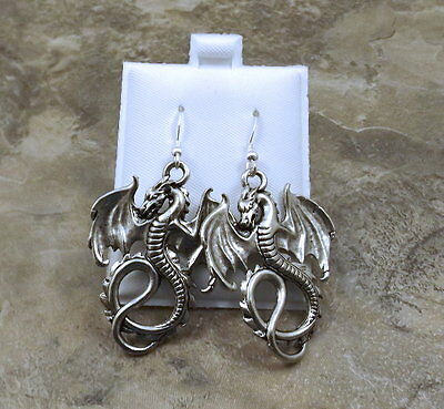 Pewter Dragon Charms on Sterling Silver Ear Wire Dangle Earrings-5052