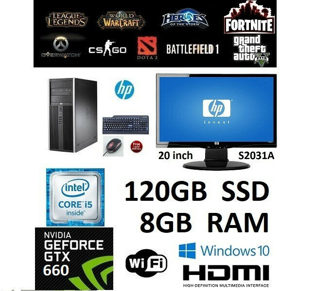 Gaming PC Setup i5-3470 GTX 660 8GB RAM 20'' LCD Windows 10 PRO | in  Wath-upon-Dearne, South Yorkshire | Gumtree