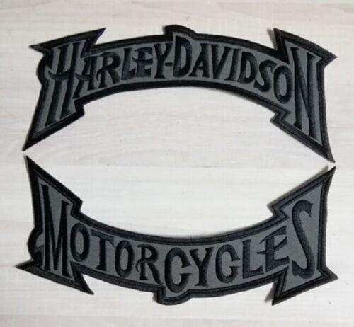 Harley Davidson Black Grey Muted Rocker Patch Set Large Motorcycle Biker Embroid