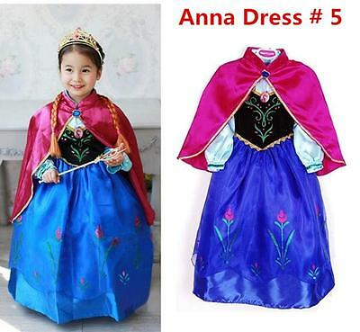FROZEN Princess Anna Elsa Queen Girls Cosplay Costume Party Formal Dress Anna #5 (Elsa & Anna Costumes)