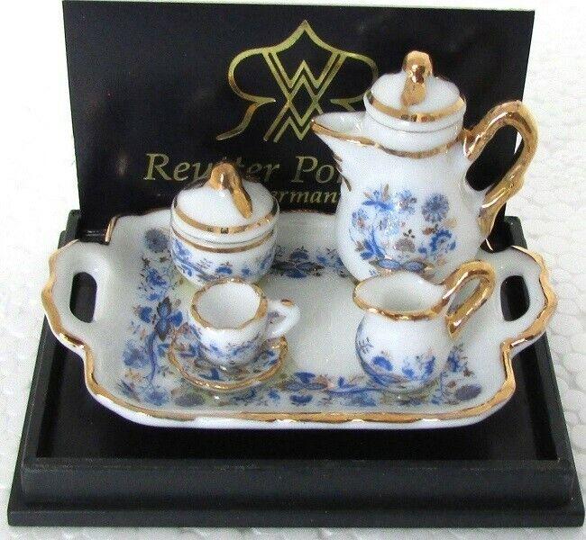 1:12 Miniature dollhouse Reutter Porcelain Gold Blue Onion Tea Set 1.642/8