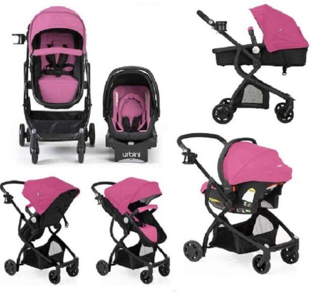Urbini Omni 3 in 1 Travel System Stroller Car Seat Bassinet Pink ...