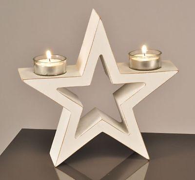 Holzstern Weihnachtsstern Weihnachten Stern Deko Holz Teelichthalter Kerze