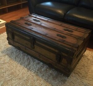 Antique Steamer Trunk 1910's Wood Refinished - Coffee Table