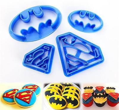 4pcs Batman Cake Cookies Biscuit Cutter Fondant Pastry Mould Baking Mold LD