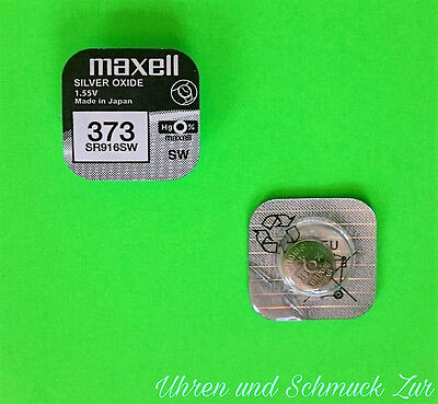 1x Maxell 373 Uhren-Batterie Knopfzelle SR916SW Neu Silberoxid