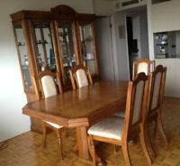 Dinning set and commode solid wood