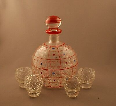 Vintage Deco Signed Czech Glass Crackle Decanter Set with Tumblers Dots c.1930