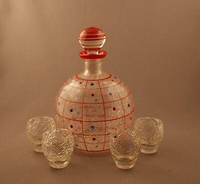 Vintage Deco Signed Czech Glass Crackle Decanter Set with Tumblers Dots c.1930