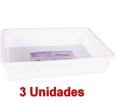3 Unidades de Cubeta bandeja Rectangular capacidad 3 Litros,Blanca,30,3 x 23 cm