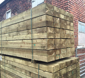 """🌲Tanalised Wooden High Quality Sleepers ~New~ 8""""X 4""""X 2.4M 🌲"""