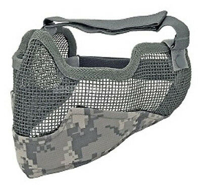 Tactical Airsoft Steel Wire Mesh Half Face Protective Mask w/ Ears Cover