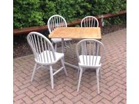 Space Saving Shabby Chic Oak Drop Leaf Table and 4 chairs
