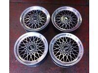"""ACT Mesh alloys BBS RS 4x100 16"""" 7.5J BMW E30, Golf MK1 MK2 MK3 Jetta Honda, Toyota, Remotec"""