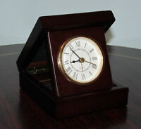 Bombay Company mahogany folding clock with picture frame on top.