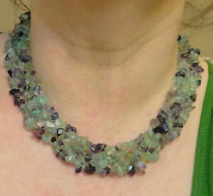 """Authentic Fluorite Chip Gemstone Beads Woven in a Necklace 18"""""""