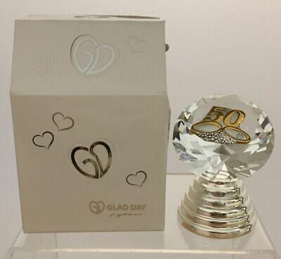 Diamante Vidrio Con Luz LED 50 Años Matrimonio Bodas de Oro Placa...