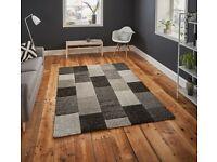 Brooklyn Grey/Black Patchwork Rug, 120 x 170cm or 160 x 220cm