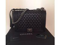 Chanel le boy bag 30cm black silver not Hermes Gucci Prada Lv