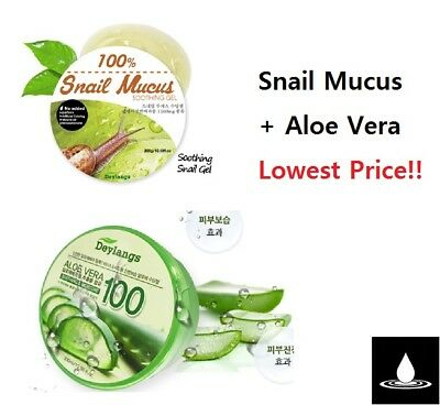 DEYLANGS Snail Mucus + Aloe Vera Soothing Gel 300ml + 300ml Moisturizing Korea