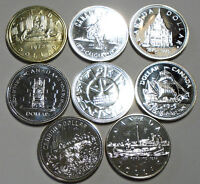 8 Uncirculated Canadian silver dollars from 1972 to 1984