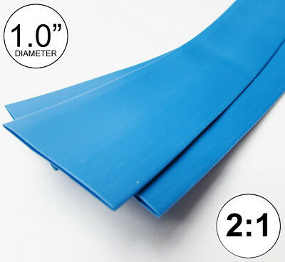 1.0 Id Blue Heat Shrink Tube 21 Ratio 1 Wrap 2x24 4 Ft Inchfeetto 25mm