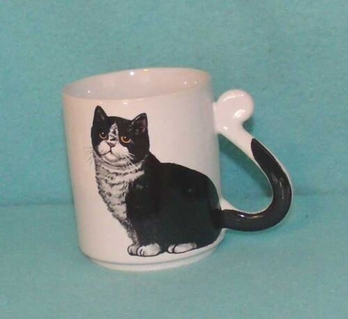 Vintage Japan Cat Mug with Tail Handle