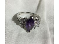 WHITE GOLD FILLED PURPLE CZ & WHITE STONES RING.