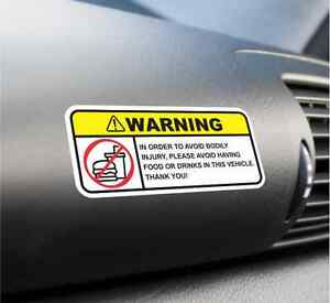 No Food Funny Warning Vinyl Label Decal Sticker BMW Mustang Audi