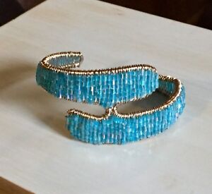 Blue Bead/Wire Bracelet - Locally Made!