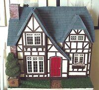 Four Room English Tudor Stucco Cottage Dollhouse Doll House