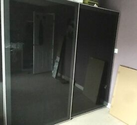 IKEA PAX WARDROBE WITH GLASS BLACK SLIDING DOORS GOOD CONDITION 2YRS OLD LOTS OF STORAGE BARGAIN