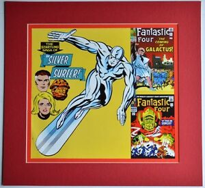 SILVER-SURFER-FANTASTIC-FOUR-PRINT-Professionally-Matted-Marvel-FF-48-amp-49